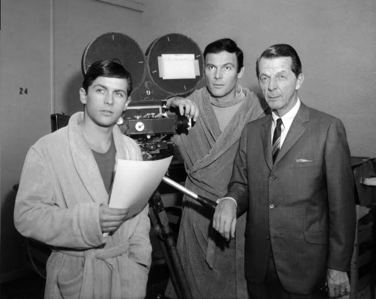 William Dozier, executive producer of Batman with Adam West and Burt Ward on set