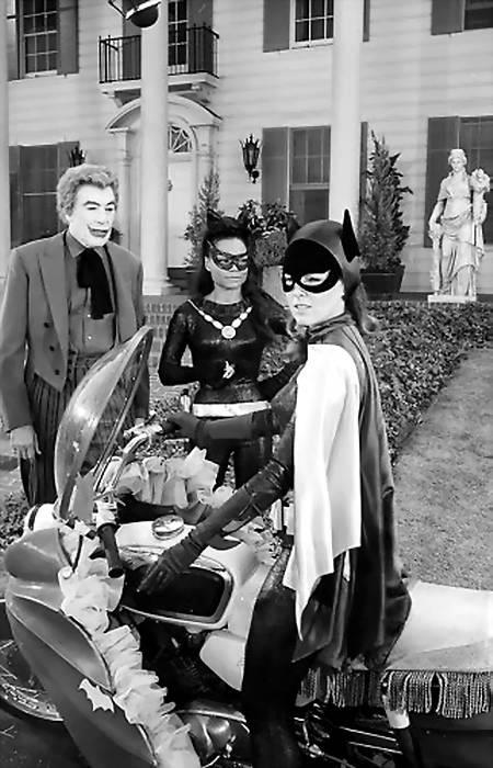 Catwoman, Joker and Batgirl. Behind the scenes filming shot.